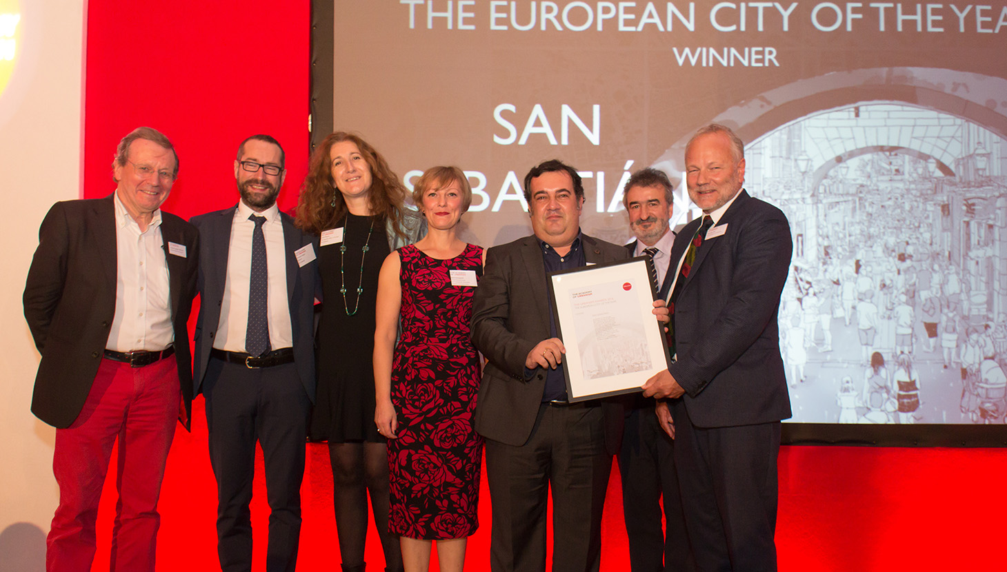 Deputy Mayor of San Sebastián, Ernesto Gasco, collects the European City of the Year Award