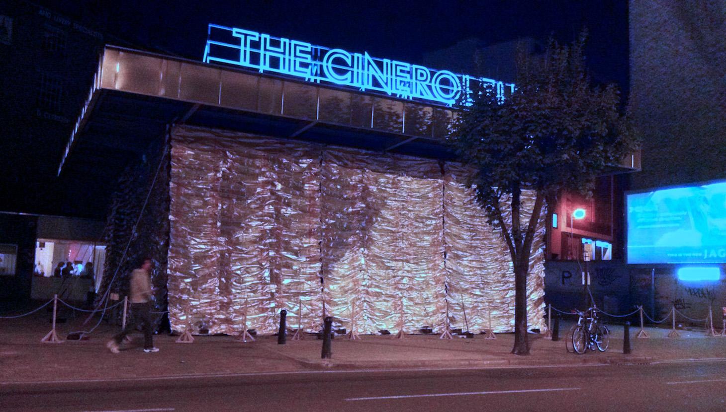 Cineroleum at night, Clerkenwell Road, London ph. John Gorgy