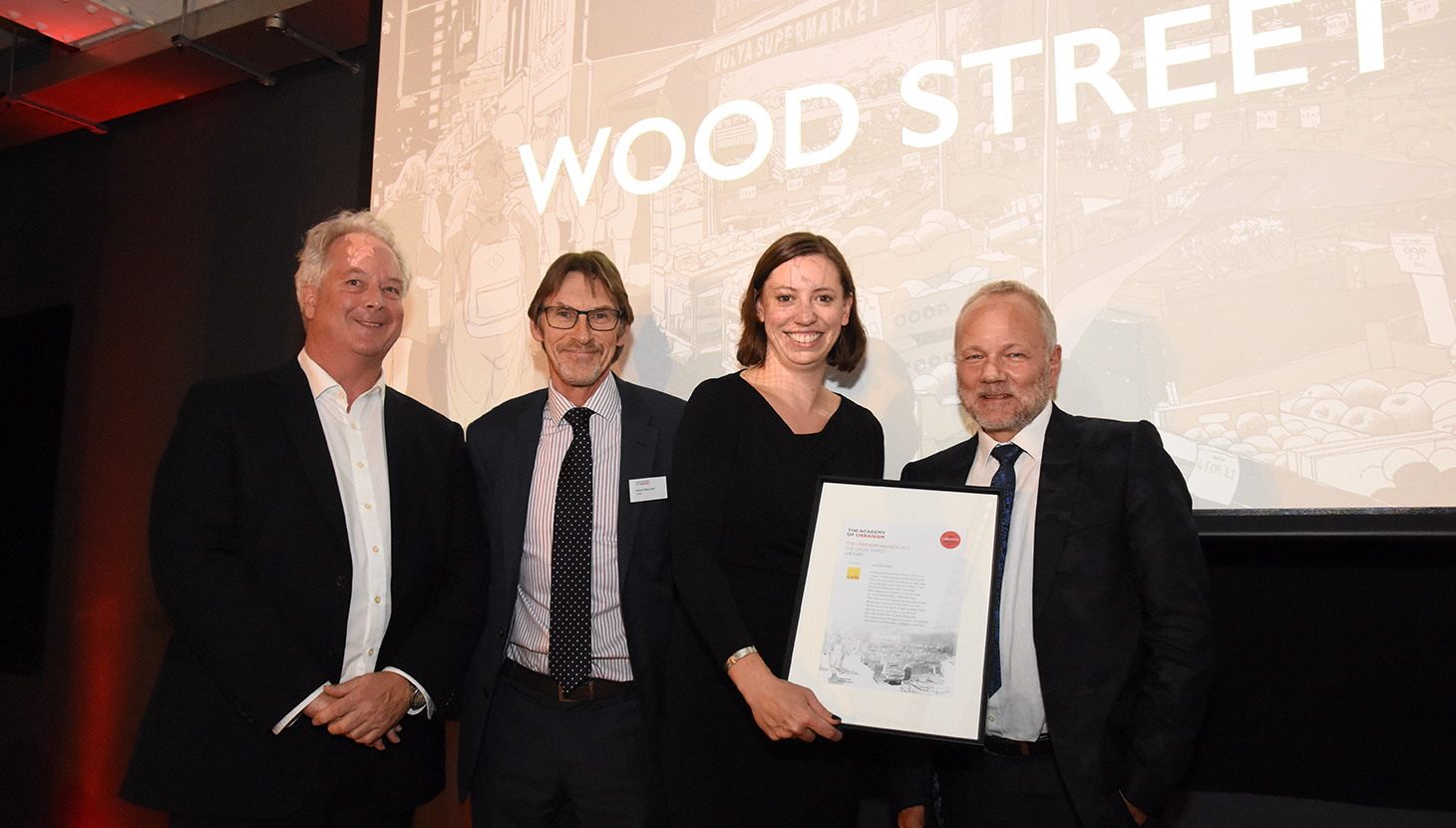 Cllr Clare Coghill of Waltham Forest accepts Wood Street's Great Street Award